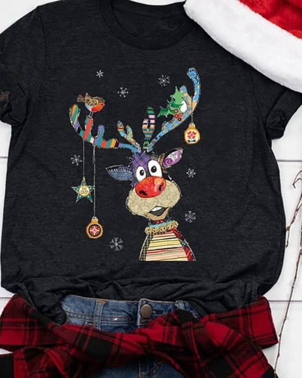 Czarna bluzka Kendallme w bożonarodzeniowy wzór z okrągłym dekoltem w młodzieżowym stylu