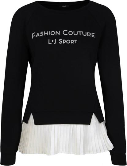 Czarna bluzka Liu Jo Sport z okrągłym dekoltem z długim rękawem
