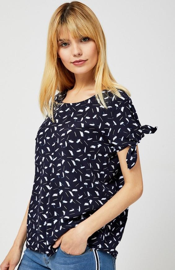 Czarna bluzka Moodo z krótkim rękawem