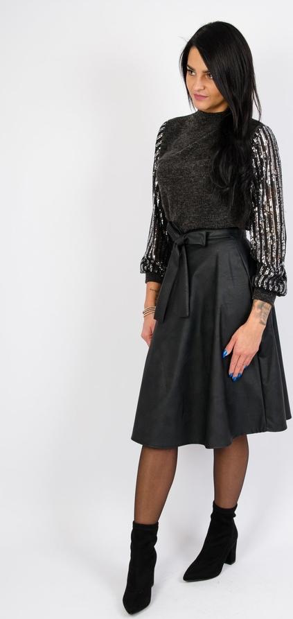 Czarna bluzka Olika z długim rękawem