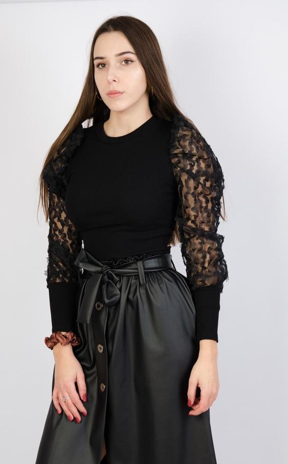 Czarna bluzka Olika z okrągłym dekoltem z długim rękawem