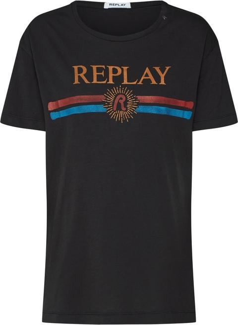 Czarna bluzka Replay z krótkim rękawem w młodzieżowym stylu z dżerseju