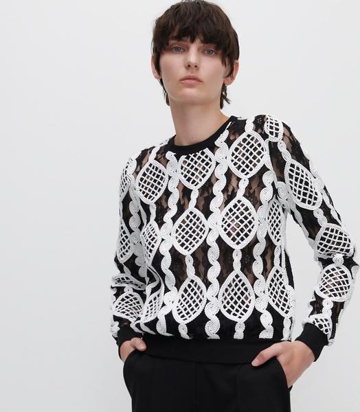 Czarna bluzka Reserved z długim rękawem w stylu casual