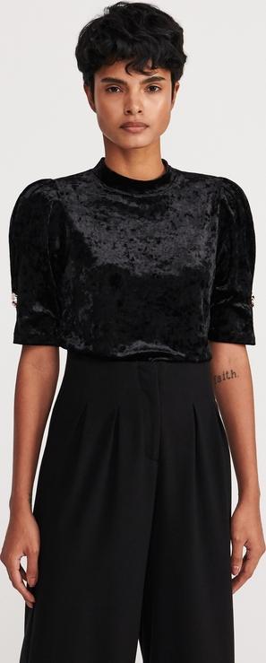 Czarna bluzka Reserved z weluru z okrągłym dekoltem z krótkim rękawem