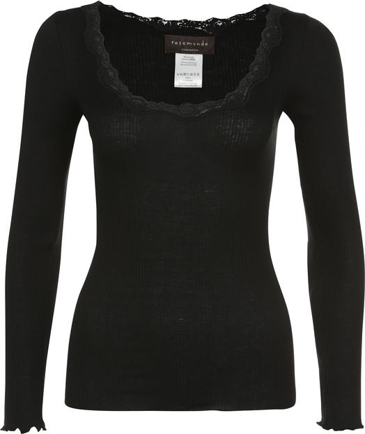 Czarna bluzka Rosemunde z dżerseju z długim rękawem z okrągłym dekoltem