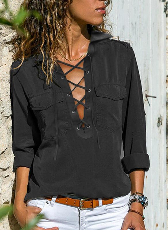 Czarna bluzka Sandbella z kołnierzykiem z długim rękawem