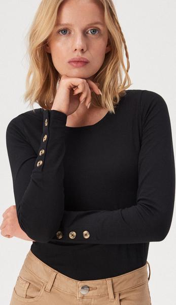 Czarna bluzka Sinsay z długim rękawem