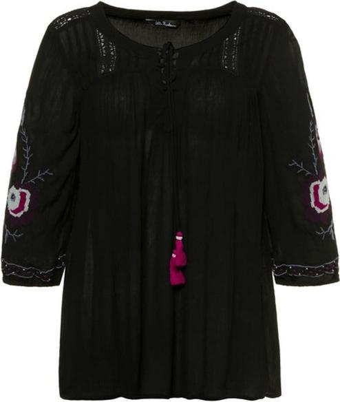 Czarna bluzka Ulla Popken w stylu casual z dżerseju z okrągłym dekoltem