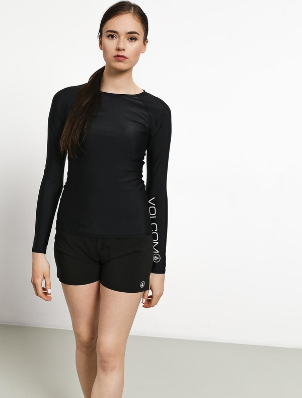 Czarna bluzka Volcom z okrągłym dekoltem z długim rękawem