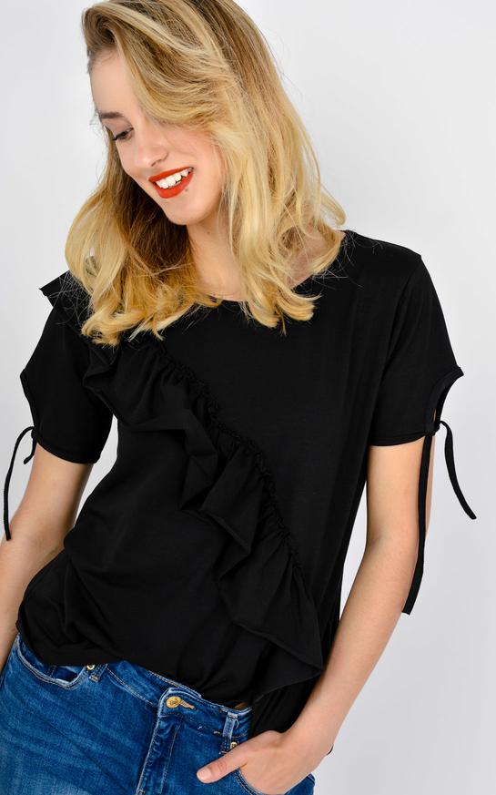 Czarna bluzka Zoio z krótkim rękawem z okrągłym dekoltem w stylu casual