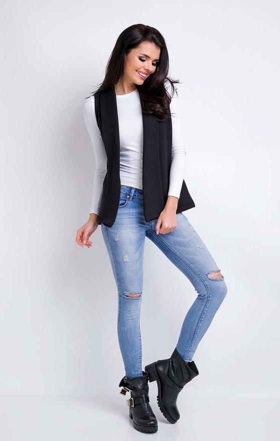 Czarna kamizelka Awama w stylu casual z bawełny krótka