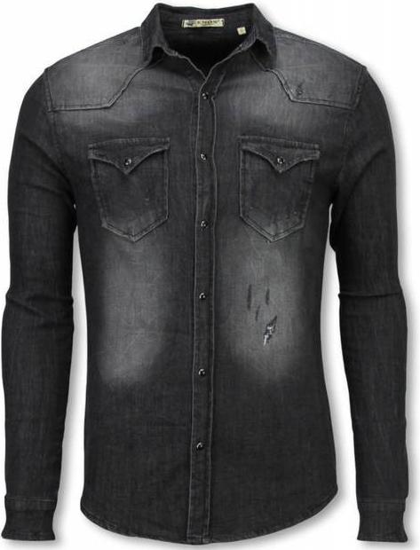 Czarna koszula ENOS z jeansu z długim rękawem