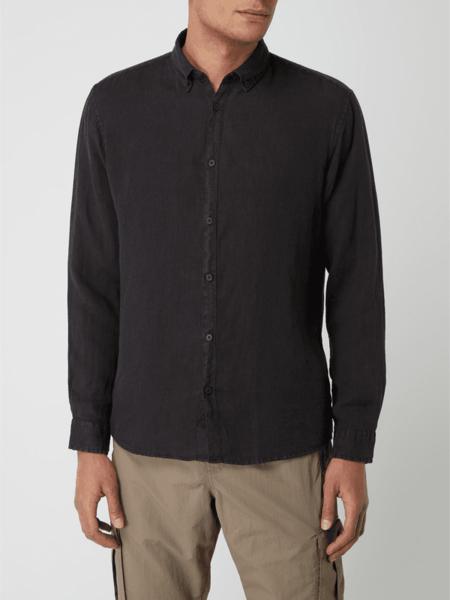Czarna koszula Esprit w stylu casual z długim rękawem z kołnierzykiem button down