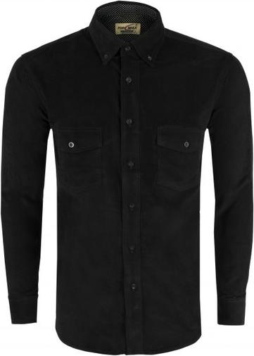 Czarna koszula Formax z kołnierzykiem button down z długim rękawem z bawełny