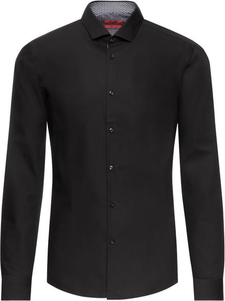 Czarna koszula Hugo Boss z długim rękawem z włoskim kołnierzykiem