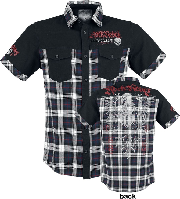 Czarna koszula Rock Rebel by EMP z bawełny z krótkim rękawem