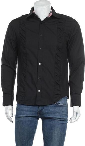 Czarna koszula Vska w stylu casual z klasycznym kołnierzykiem