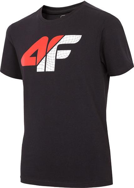 Czarna koszulka dziecięca 4F z krótkim rękawem z bawełny