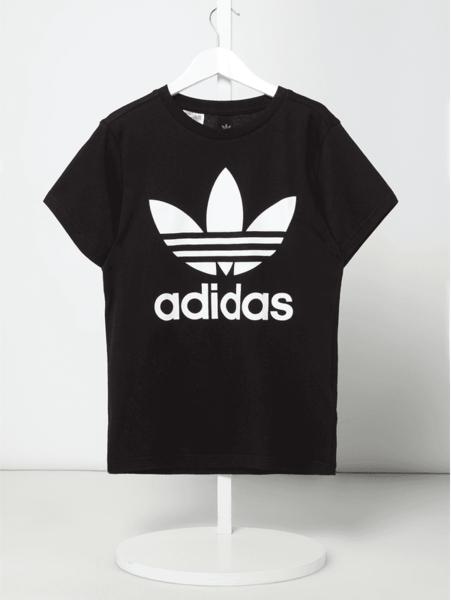Czarna koszulka dziecięca Adidas Originals z bawełny z krótkim rękawem