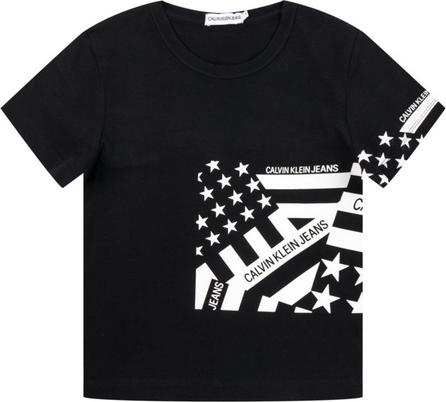 Czarna koszulka dziecięca Calvin Klein z jeansu z krótkim rękawem