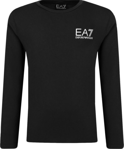 Czarna koszulka dziecięca EA7 Emporio Armani z długim rękawem