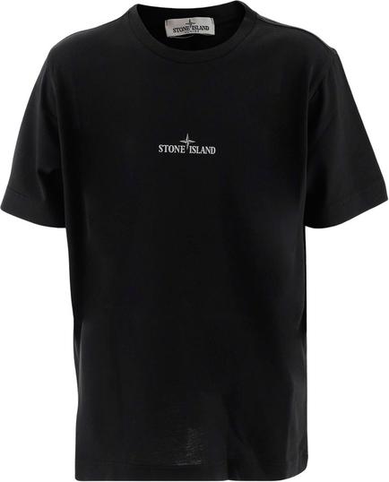 Czarna koszulka dziecięca Stone Island z bawełny