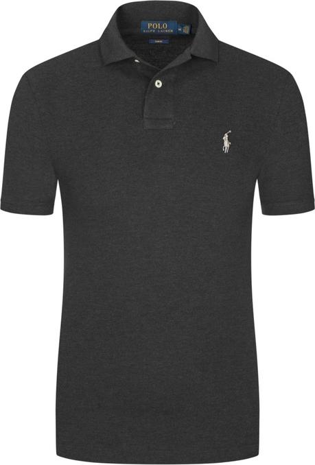 Czarna koszulka polo POLO RALPH LAUREN z krótkim rękawem z bawełny