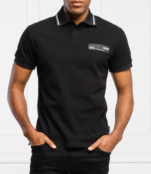 Czarna koszulka polo Versace Jeans w stylu casual