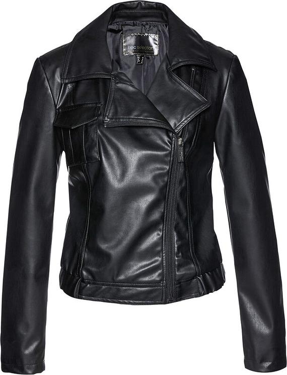 Czarna kurtka bonprix krótka ze skóry ekologicznej