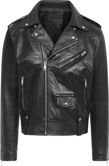 Czarna kurtka Givenchy krótka ze skóry