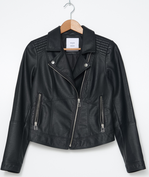 Czarna kurtka House krótka ze skóry w rockowym stylu