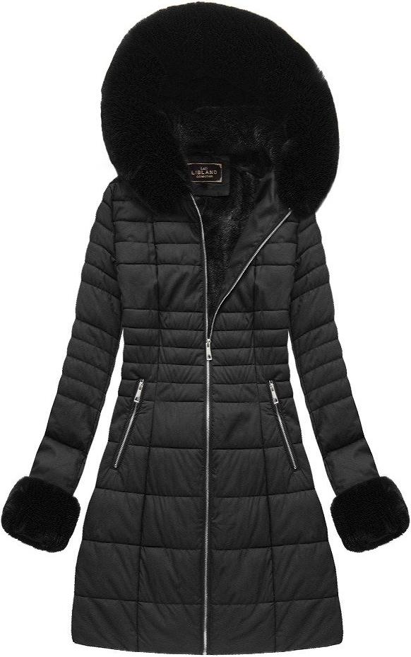 Czarna kurtka Libland długa ze skóry ekologicznej
