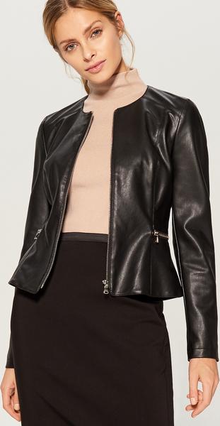 Czarna kurtka Mohito krótka ze skóry ekologicznej