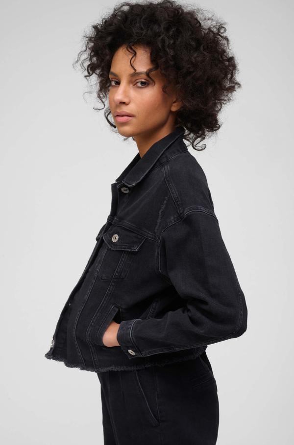 Czarna kurtka ORSAY z jeansu w stylu casual krótka