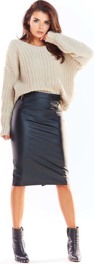Czarna spódnica Awama ze skóry midi