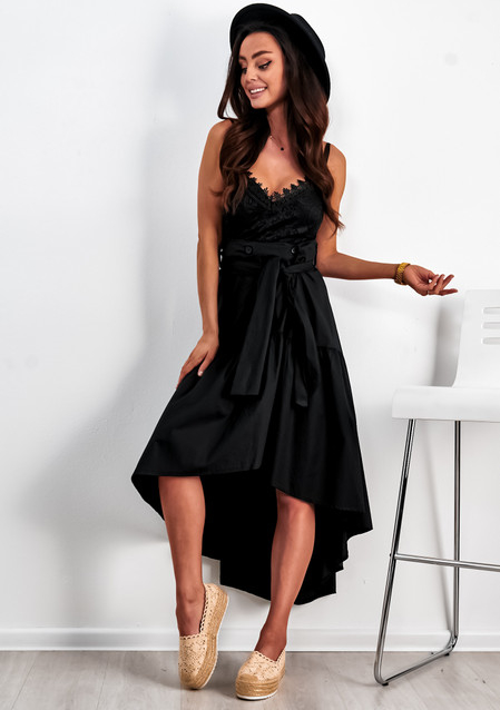 Czarna spódnica Ligari z bawełny midi