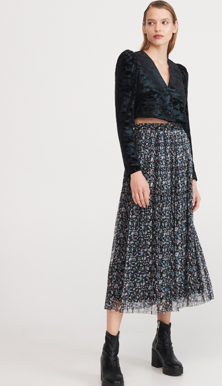 Czarna spódnica Reserved w stylu boho midi z nadrukiem
