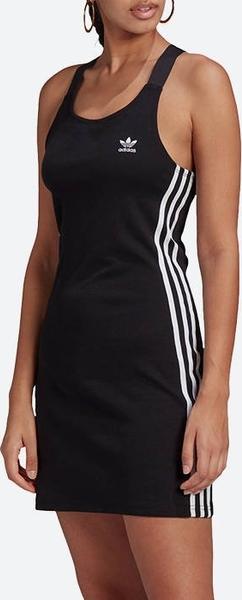 Czarna sukienka Adidas Originals w sportowym stylu z okrągłym dekoltem