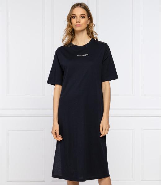 Czarna sukienka Armani Exchange prosta z krótkim rękawem