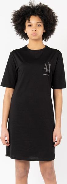 Czarna sukienka Armani Exchange w stylu casual prosta z okrągłym dekoltem