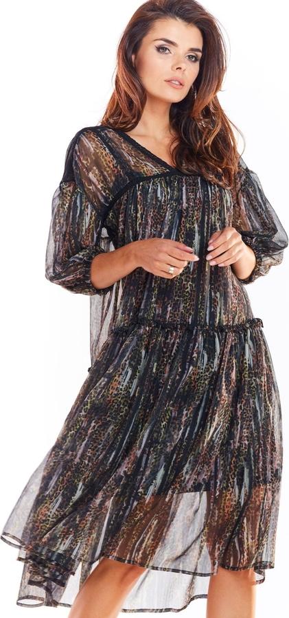 Czarna sukienka Awama rozkloszowana w stylu casual z szyfonu
