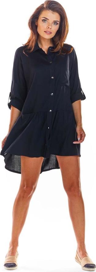 Czarna sukienka Awama w stylu casual z kołnierzykiem oversize