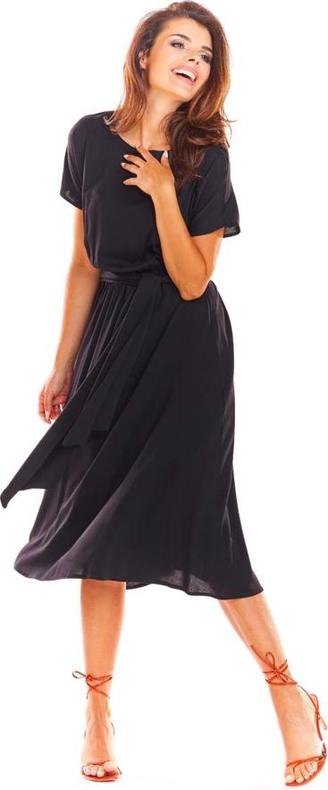 Czarna sukienka Awama z krótkim rękawem midi