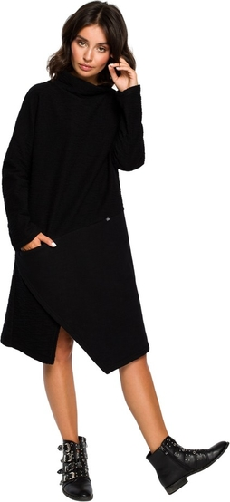 Czarna sukienka Be z długim rękawem z dzianiny midi