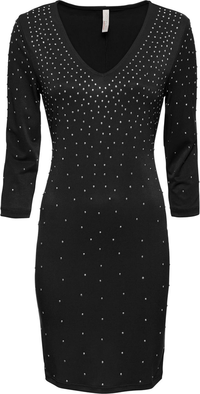 Czarna sukienka bonprix BODYFLIRT boutique dopasowana z dekoltem w kształcie litery v
