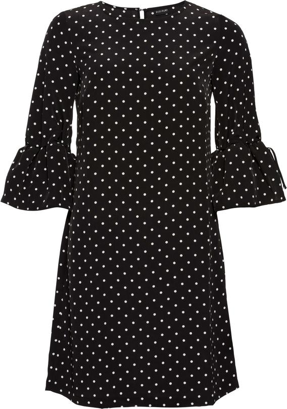 Czarna sukienka bonprix BODYFLIRT w stylu retro z długim rękawem trapezowa
