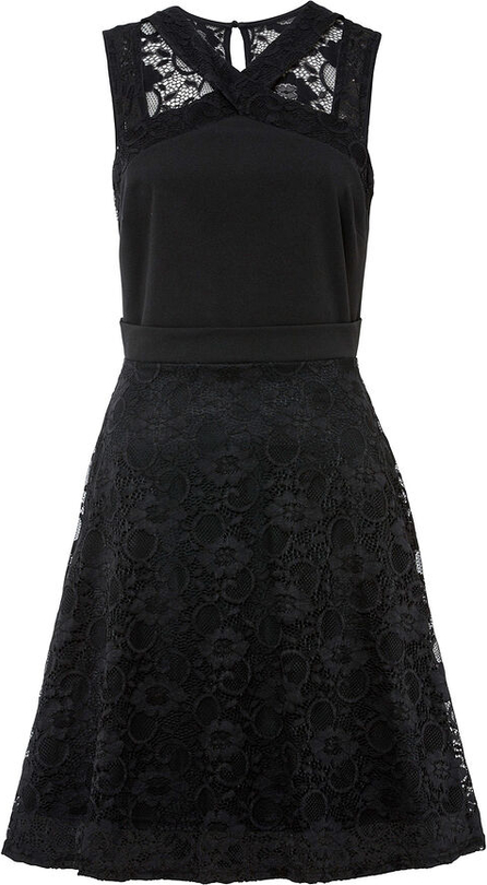 Czarna sukienka bonprix mini bez rękawów z okrągłym dekoltem