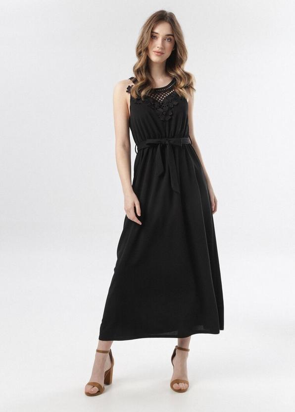 Czarna sukienka born2be bez rękawów maxi