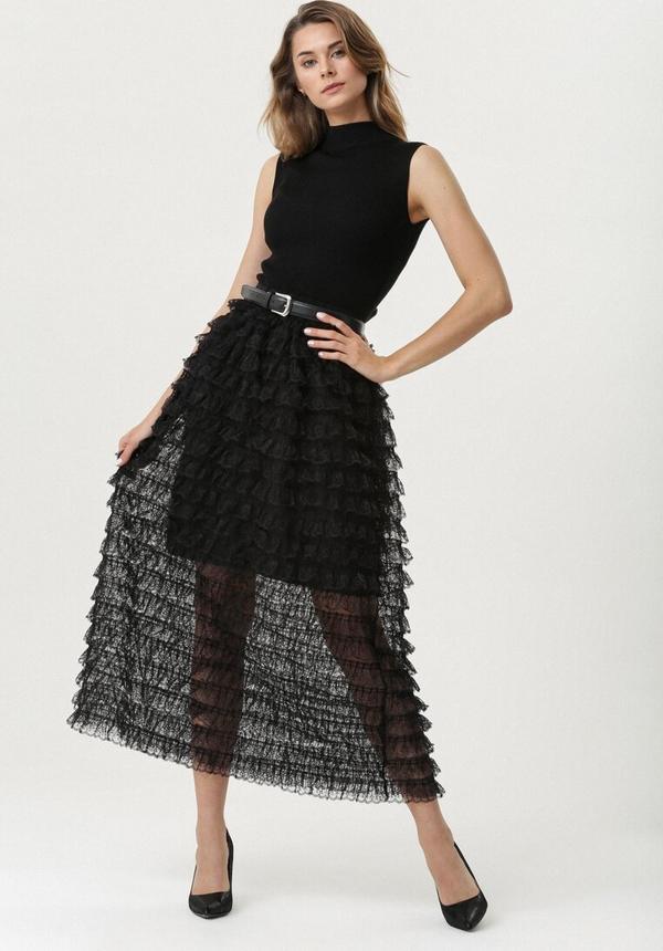 Czarna sukienka born2be trapezowa z golfem