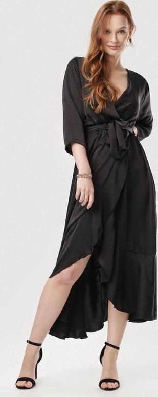 Czarna sukienka born2be z dekoltem w kształcie litery v asymetryczna midi